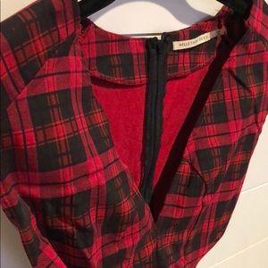 Plaid cut out shirt
